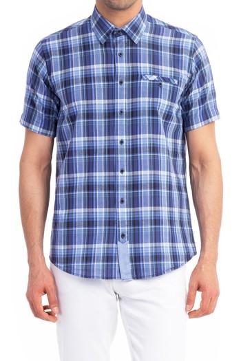 Kısa Kol Ekose Tasarım Gömlek