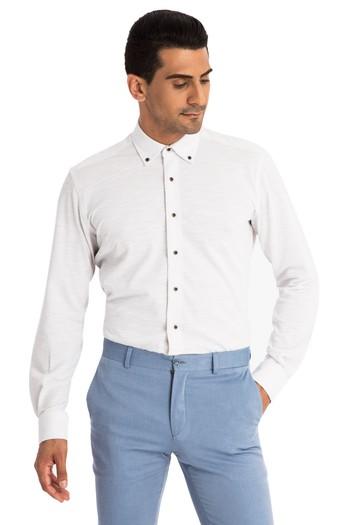 Uzun Kol Slimfit Örme Gömlek