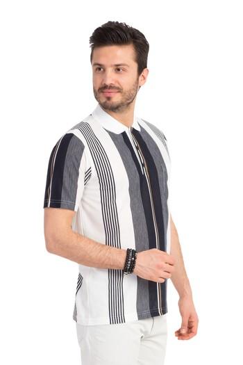 Polo Yaka Çizgili Klasik Tişört