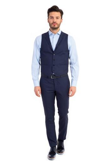 Slimfit Kareli Yelekli Takım Elbise