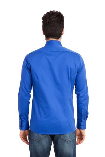 Uzun Kol Düz Saten Slimfit Gömlek