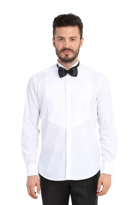 Ata Yaka Saten Slim Fit Gömlek