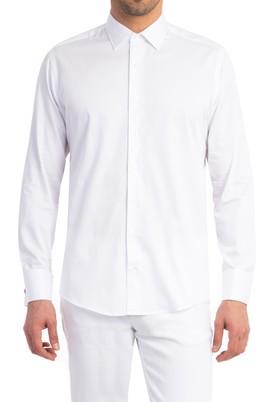 Uzun Kol Slimfit Saten Manşetli Gömlek