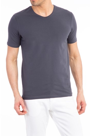 V Yaka Düz Regular Fit Tişört