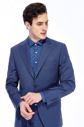 9adc15e6a8381 Erkek Mavi Slim Fit Kareli Takım Elbise | 7K1M9MFS56F44 - Kiğılı