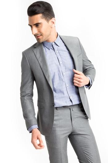 Slimfit Desenli Takım Elbise