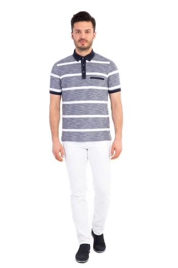 Polo Yaka Çizgili Tişört