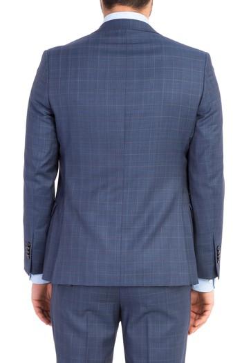 Süper Slimfit Yelekli Ekose Takım Elbise