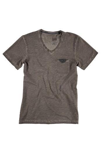 V Yaka Baskılı Regular Fit Tişört