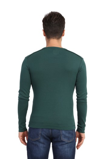 V Yaka Uzun Kol Slimfit Tişört
