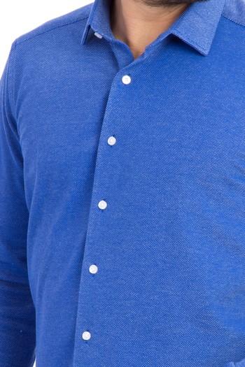 Uzun Kol Örme Slimfit Gömlek