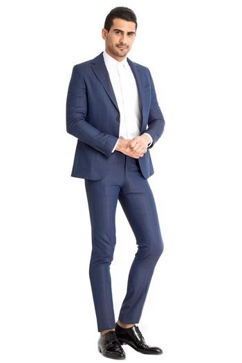 1fb569f2a9158 Erkek KOYU MAVİ Slim Fit Desenli Takım Elbise | 7Y1X7K582OF52 - Kiğılı