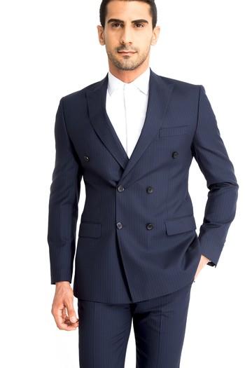 Çizgili Kruvaze Takım Elbise