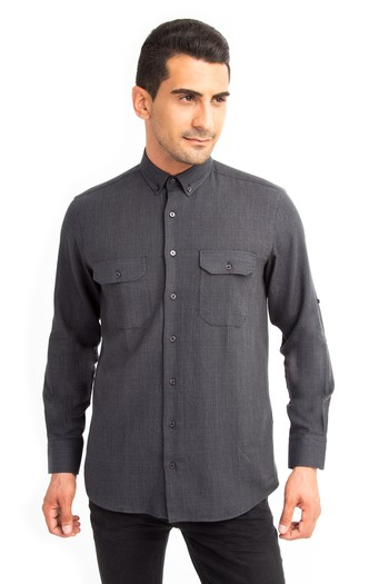 Erkek Giyim - Uzun Kol Oduncu Desenli Gömlek