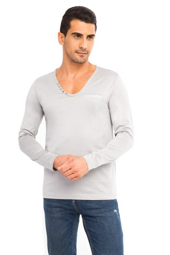 V Yaka Slimfit Merserize Sweatshirt