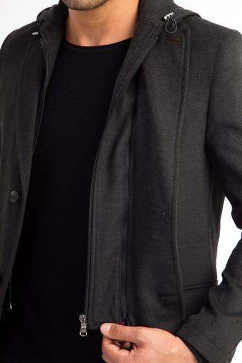 Slimfit Kapüşonlu Düz Ceket