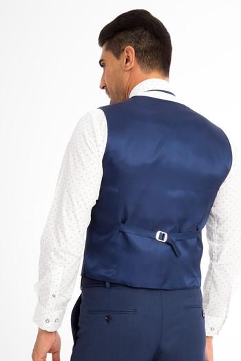 Slimfit Kuşgözü Yelekli Takım Elbise