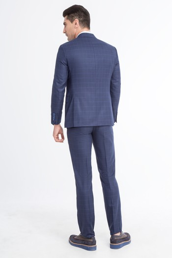 Slimfit Kareli Takım Elbise