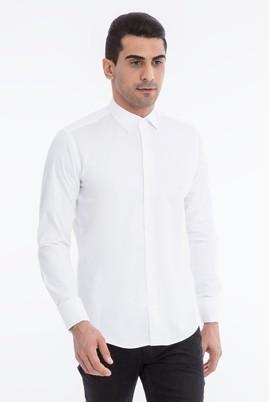 Uzun Kol Manşetli Saten Slimfit Gömlek