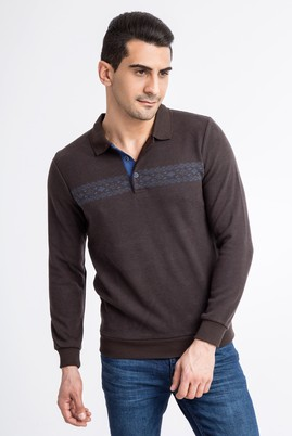 Polo Yaka Tasarım Regular Fit Sweatshirt