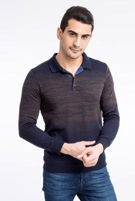 Polo Yaka Tasarım Slimfit Sweatshirt