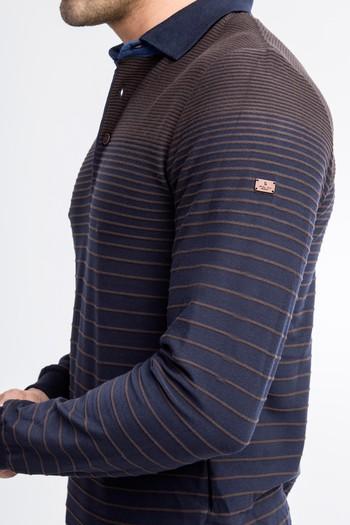 Polo Yaka Çizgili Slim Fit Sweatshirt