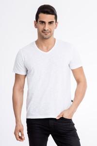 V Yaka Düz Slimfit T-Shirt