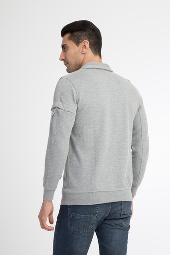 Polo Yaka Slim Fit Fermuarlı Sweatshirt