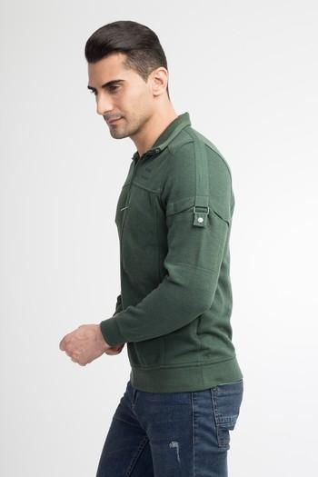 Erkek Giyim - Polo Yaka Slim Fit Fermuarlı Sweatshirt