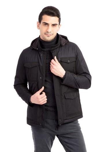 Erkek Giyim - Kapitone Kapüşonlu Bonded Kaban