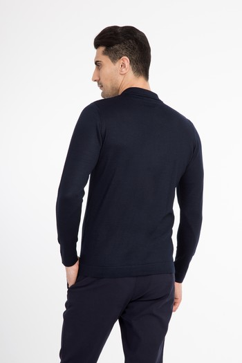 Polo Yaka Tasarım Slim Fit Triko Kazak