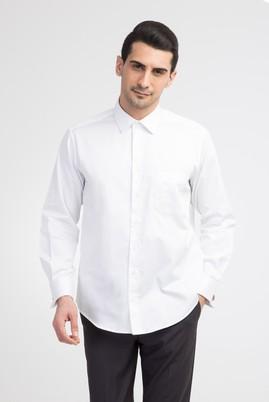 Uzun Kol Düz Saten Manşetli Gömlek