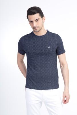 Erkek Giyim - Bisiklet Yaka Çizgili Slim Fit Tişört