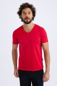 V Yaka Düz Slim Fit Tişört