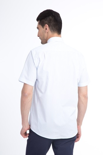 Erkek Giyim - Kısa Kol Çizgili Klasik Gömlek