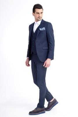 Erkek Giyim - Süper Slim Fit Yelekli Takım Elbise