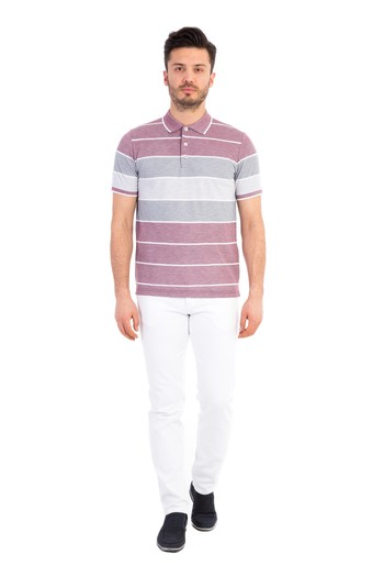 Polo Yaka Çizgili Regular Fit Tişört