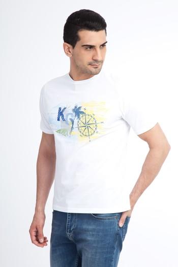 Erkek Giyim - Bisiklet Yaka Baskılı Regular Fit Tişört