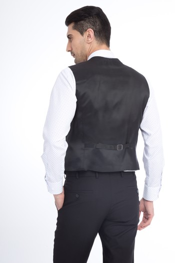 Süper Slim Fit Düz Yelekli Takım Elbise