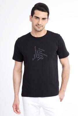 Erkek Giyim - Siyah XXL XX Bisiklet Yaka Baskılı Regular Fit Tişört