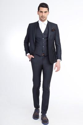 Slim Fit Düz Yelekli Takım Elbise