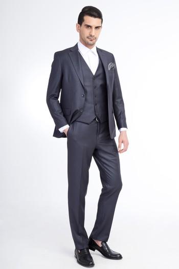 e3e38cff82602 Erkek Füme Gri Yelekli Klasik Takım Elbise   8Y1O7YL134B60 - Kiğılı