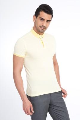 Erkek Giyim - Sarı XL XL Polo Yaka Desenli Slim Fit Tişört