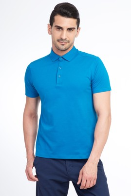 Erkek Giyim - Petrol L L Yarım İtalyan Yaka Slim Fit Tişört