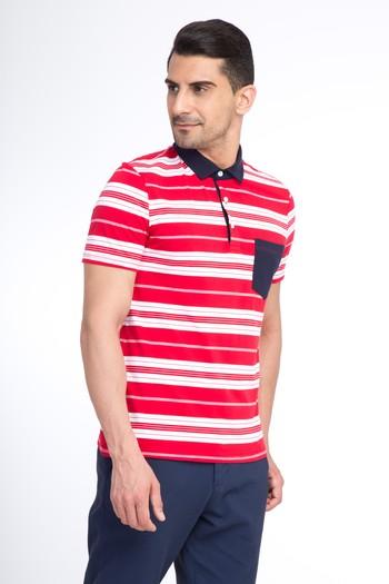 Erkek Giyim - Polo Yaka Çizgili Slim Fit Tişört