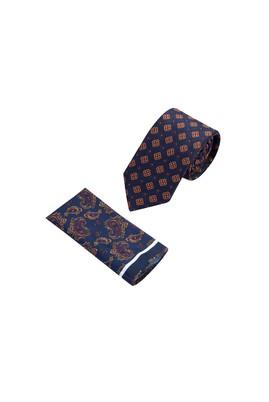 Erkek Giyim - Lacivert  75 2'li Kravat Mendil Seti