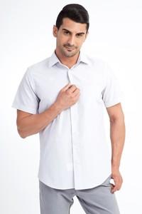 Erkek Giyim - Kısa Kol Gri Çizgili Gömlek