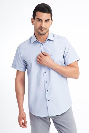 Erkek Giyim - Kısa Kol Mavi Çizgili Gömlek