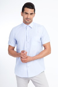Erkek Giyim - Kısa Kol Çizgili Gömlek