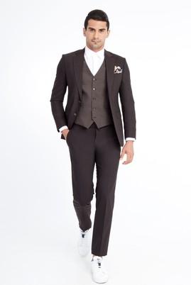 Slim Fit Yelekli Kareli Takım Elbise